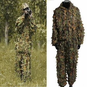 Leaf Ghillie Suit Woodland Camo Camouflage Clothing 3D Jungle Hunting Clothes M