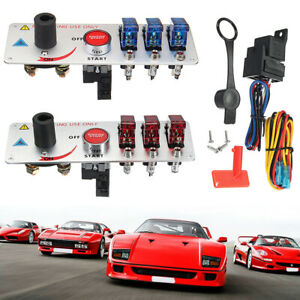 12V Auto LED Toggle Ignition Switch Panel Racing Car Engine Start Push Set Blue $36.88