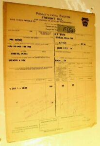 Vintage Pennsylvania System Railroad Freight Bill Invoice July 17 1923 $10.49