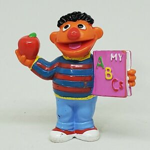 Vintage Ernie ABC Book amp; Apple PVC Figure Sesame Street Applause School Teacher