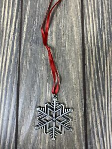 """Vintage Silver Snowflake 2"""" Christmas Tree Ornament With Red Ribbon"""