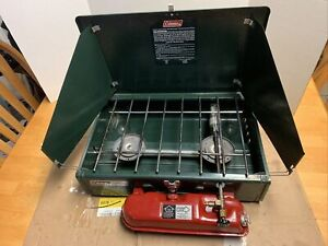 Vintage 1990 Coleman Dual Burner Camping Fuel Stove 425F Very Good Condition