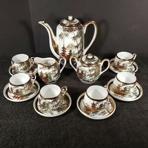 Antique 17 Piece Satsuma Japanese Tea Set Eggshell Porcelain