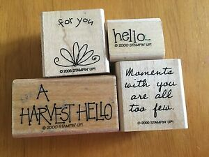 4 Stamps 2000 Retired Stampin Up Wood Rubber Mounted A Harvest Hello quot;for youquot;
