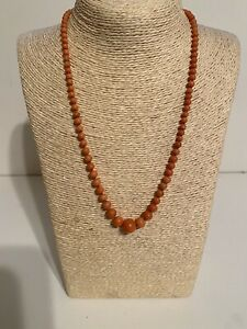 Vintage Salmon Color Angel Skin Graduated Beads Necklace Sterling Silver Clasp
