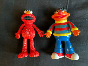 Vintage Elmo And Ernie Plastic Figures Sesame Street Toys Good Condition