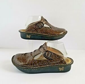 ALEGRIA Classic Slip On Clogs 40 10 Bronze Scroll ALG 511 Nursing Comfort Shoes
