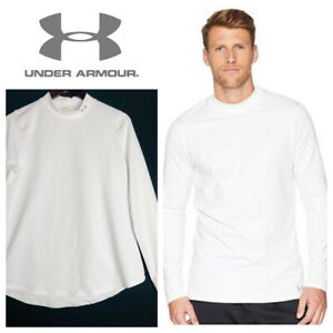 UNDER ARMOUR Cold Gear Mock Turtleneck Shirt Mens XL White Compression Fitted $31.49