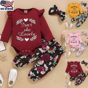 US Newborn Baby Girls Floral Romper Bodysuit Jumpsuit Pants Headband Outfits Set $12.89
