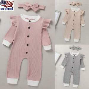 Newborn Baby Girls Ruffle Bodysuit Romper Jumpsuits Headband Clothes Outfits Set $11.59