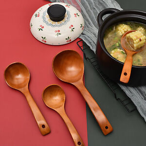 Wooden Hot Pot Spoon Restaurant Household 3 Sizes Curved Long Handle Soup Spoon