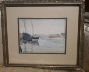 Antique Signed SEASCAPE SAILBOAT NAUTICAL watercolor PAINTING Old FRAME 1902 $62.00