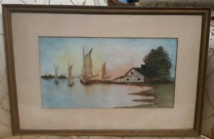 Antique Signed Watercolor Painting Sailboats on horizon American SE Tipping 1927 $36.00