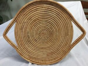 """Vintage Handmade Basket Woven Grass Coil Tray 15"""" W Handles $30.00"""