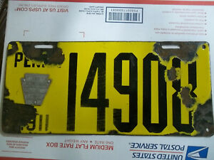1911 Pennsylvania license plate Porcelain $75.00
