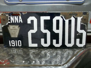 1910 Pennsylvania license plate Porcelain $130.00