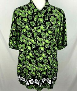 KEN DONE DOWN UNDER Mens SIZE XL Black Green Hibiscus Floral Short Sleeve Shirt $24.98