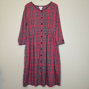 Lanz of Salzburg Red Plaid Holiday Dress with Pockets Size Large $50.14