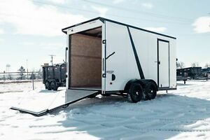 IN STOCK 7 X 14 V Nose Enclosed Cargo UTV Motorcycle Trailer w Ramp Door