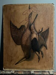 ANTIQUE VICTORIAN Painting Embossed Card Hanging Game Birds GBP 50.00