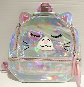 Holographic Iridescent Toddler Kids Cat Mini Preschool Backpack w 2 Compartments