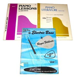 3 Vintage Song Book LOT: Mel Bay ELECTRIC BASS Bastien PIANO Lessons Literature