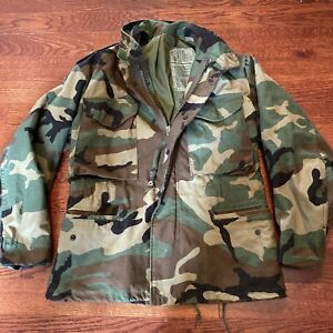 Vintage Army Military M 65 Cold Weather Field Coat Jacket Camouflage Sz XS Short $59.99