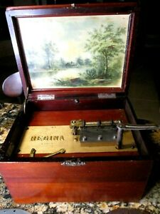 Antique Original Mahogany REGINA DISC MUSIC BOX W 8 Discs Excellent Condition $1250.00