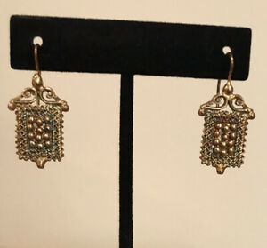 Vintage Marcello Fontana Signed Gold Vermeil Sterling Silver Etruscan Earrings $72.50