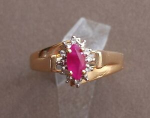 Gold Ring with Small Ruby 14K Gold