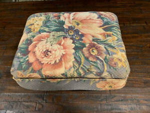 Vintage Victorian Floral UpHolstered Sewing Storage Box Stool $18.00