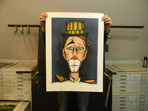 Bernard Buffet Hand Signed Vintage Print Clown by V. Beffa 1975 Lithograph $100.00