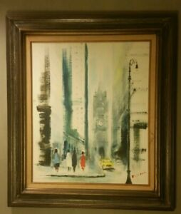 Mid Century Original Signed Painting on Canvas NYC WALL ST TRINITY CHURCH $125.00