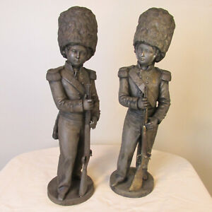 Pair Large 19th Century Cast Metal Sculptures Of Napoleonic Era Grenadiers $595.00
