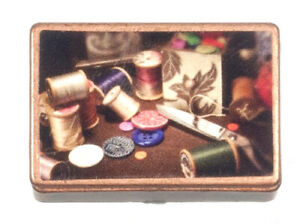 Dollhouse Miniature Antique Sewing Box with Accessories $5.49
