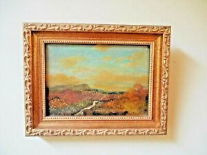 SMALL ANTIQUE OIL PAINTING IMPRESSIONIST LANDSCAPE 5x7 quot; circa 1910 $128.70