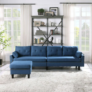Sectional Sofa Couch 4 Seaters with Storage Ottoman Pillows Upholstered Fabric