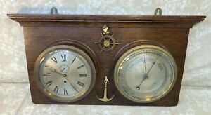 Antique Ships Clock amp; Barometer on Oak Wall Plaque Clock Running Bar Operating? $1779.11
