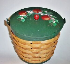Large Sewing Basket Hand Painted With Apple Theme Vintage $14.95