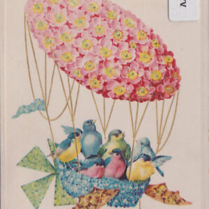 Antique With All Best Wishes for Easter Embossed Postcard Birds in Balloon 1911 $12.00