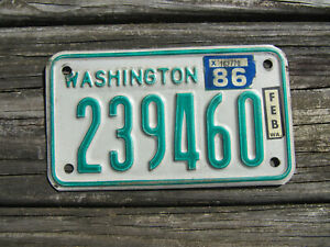 1986 White Green Motorcycle License Plate WA Motor Cycle 239460