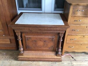 Antique Stand Marble Top Oak Pressed Carvings $895.00