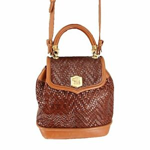 RARE Barry Kieselstein Cord Crossbody Trophy Brown Woven Leather Bag Dog