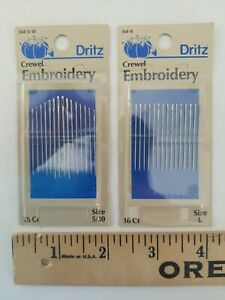 LOT OF 2 NEW Dritz Crewel Hand Sewing Needles Sizes 5 10 amp; 8 16 Needle Pack #56E $9.80
