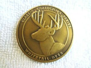 VINTAGE HUNTING NATIONAL RIFLE NRA WHITETAIL DEER CLASSIC COLLECTORS BRASS COIN