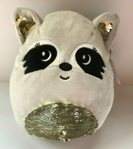 New Squishmallows Justice Exclusive Rayne the Raccoon Reversible Sequins 8quot;
