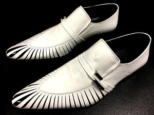 Chelsy Unusual Leather Mens Shoe Slippers White Black Leather Sole Unique 43 $303.37