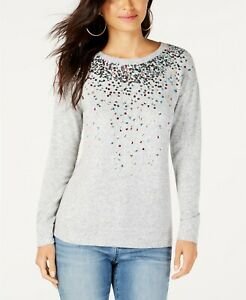 INC Women Gray Sequined Knit Pullover Top Jewel Neckline Long Sleeve Size Small $16.14