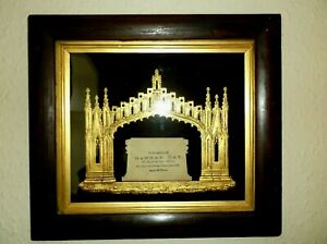 RARE ANTIQUE IN MEMORIAM FRAMED TOMB CARD RAISED GOTHIC GILDED BORDER DATED 1856