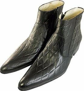 Chelsy – Italian Designer Ankle Boots Real Leather Checked Pattern Black Mens $287.38
